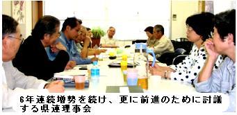 6年連続増勢を続け、更に前進のために討議する県連理事会